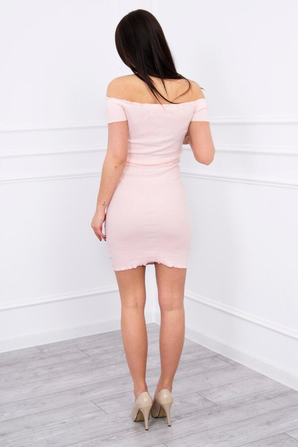 eng pl Dress fitted with a tied neckline powdered pink 12310 2