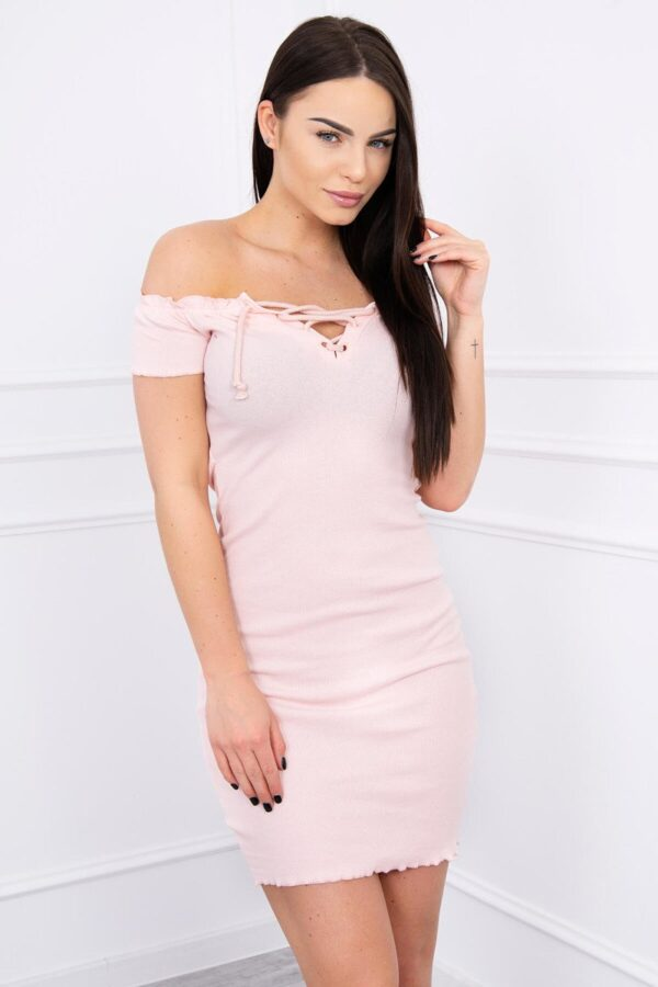 eng pl Dress fitted with a tied neckline powdered pink 12310 3