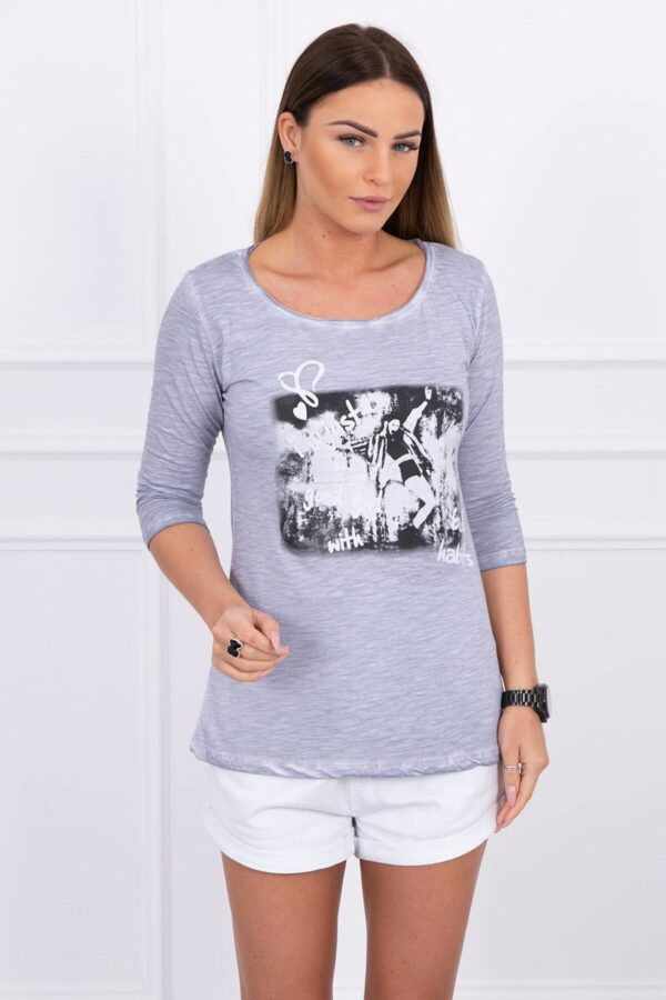 eng pl A blouse Girls gray melange 1564 1