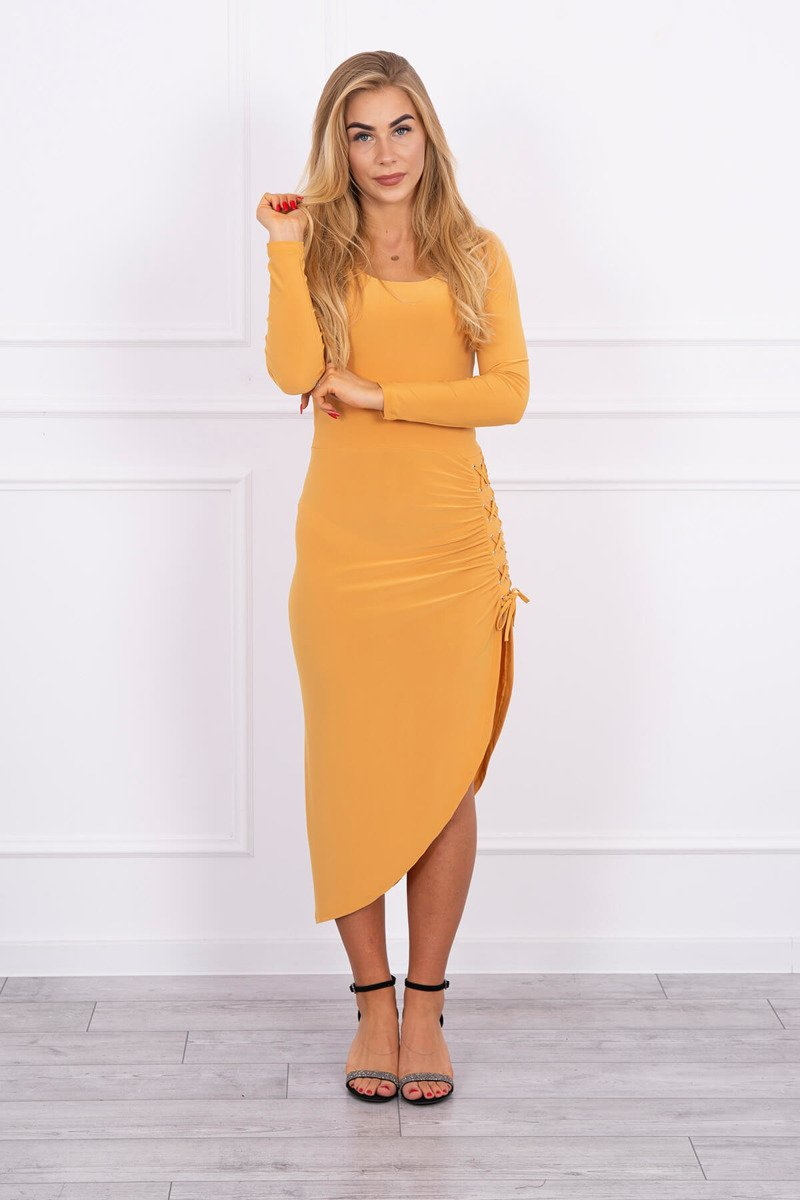eng pl Asymmetrical dress with lacing mustard 13881 1