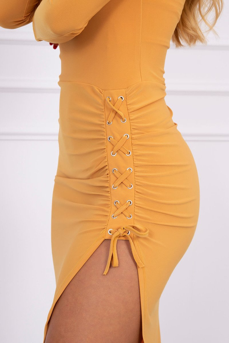 eng pl Asymmetrical dress with lacing mustard 13881 2