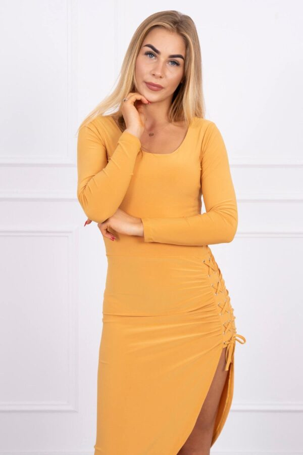 eng pl Asymmetrical dress with lacing mustard 13881 3