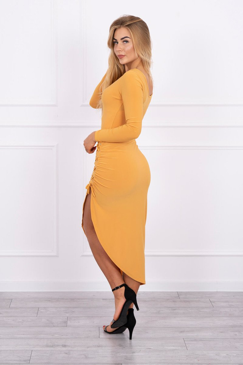 eng pl Asymmetrical dress with lacing mustard 13881 4