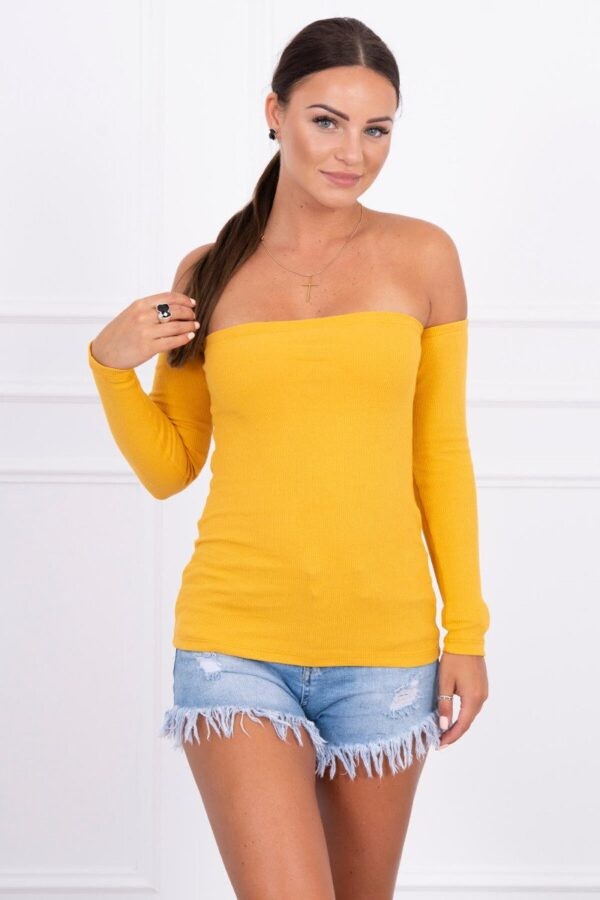 eng pl Blouse with bare shoulders in the stripe mustard 13783 1