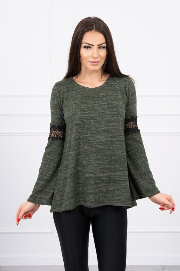 eng pl Blouse with lace insert on the sleeves khaki 8571 1