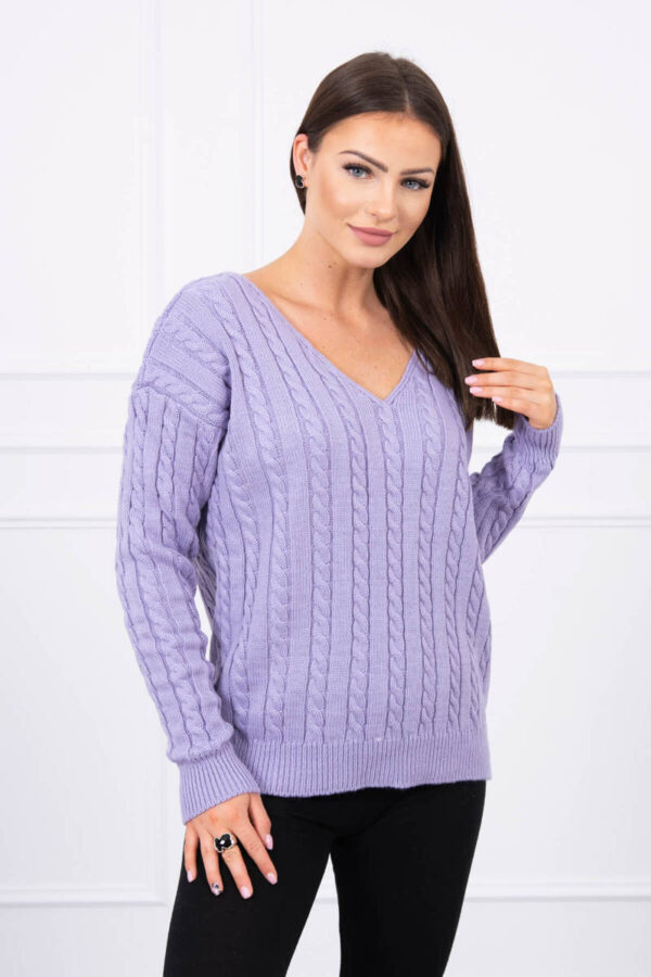eng pl Braided sweater with V neck purple 17667 1