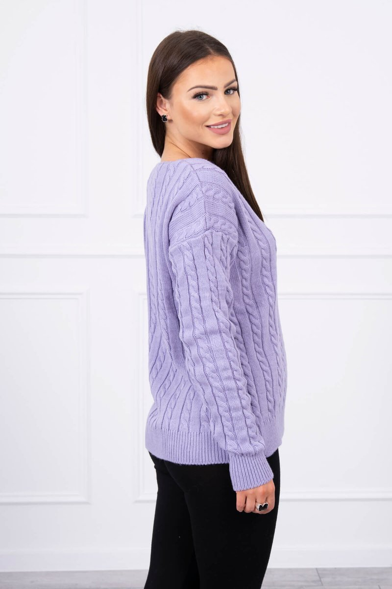 eng pl Braided sweater with V neck purple 17667 2