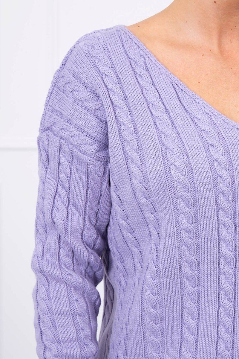 eng pl Braided sweater with V neck purple 17667 3