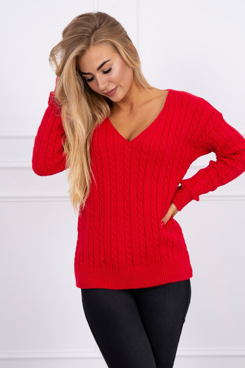 eng pl Braided sweater with V neck red 16050 1