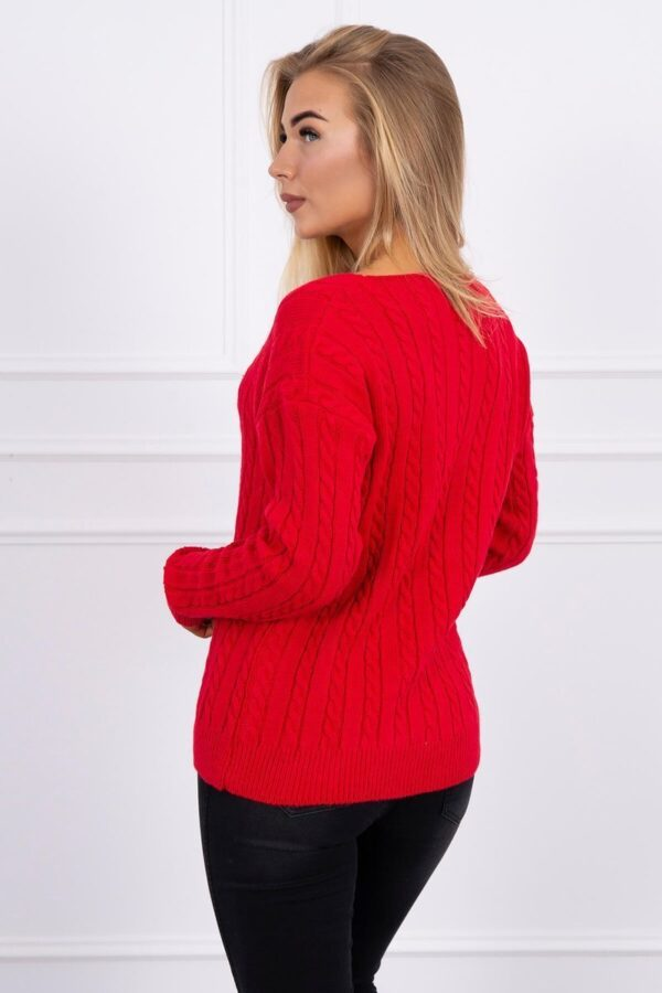 eng pl Braided sweater with V neck red 16050 2