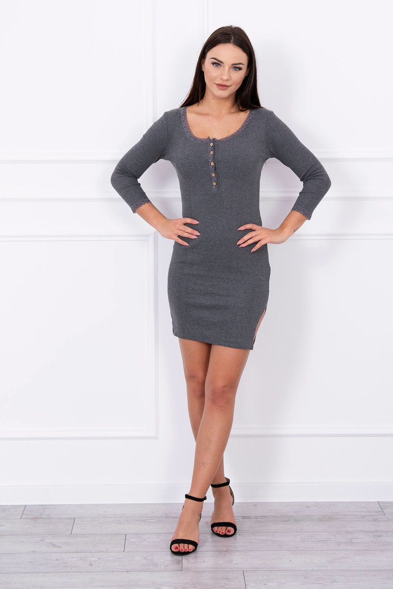 eng pl Dress finished with lace graphite 13922 1