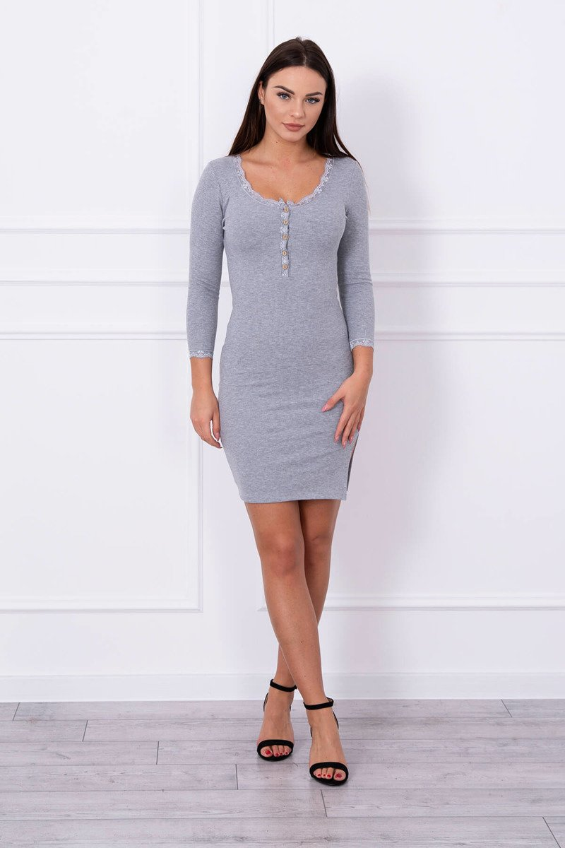 eng pl Dress finished with lace gray 13919 1