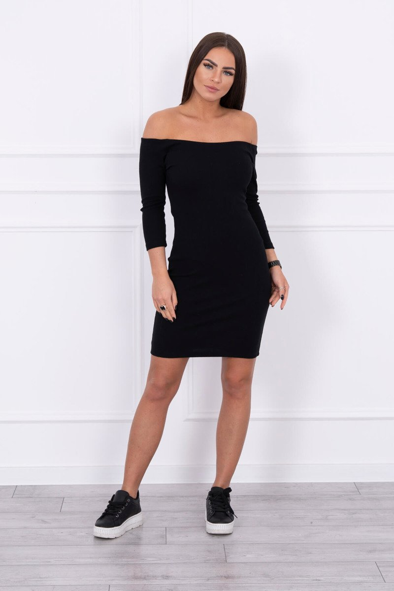 eng pl Dress fitted ribbed black 14735 1