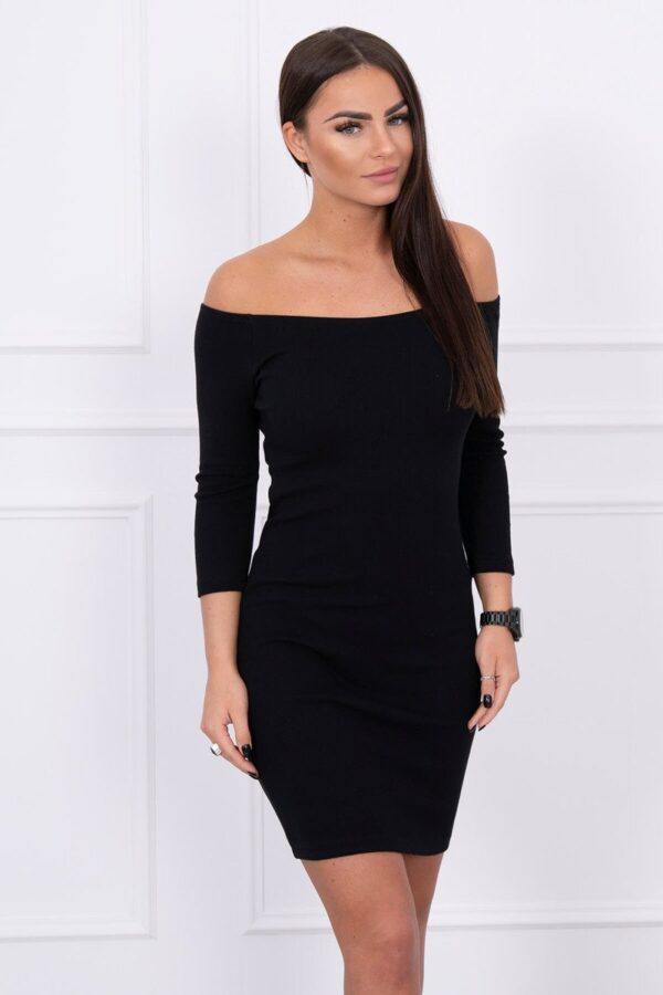 eng pl Dress fitted ribbed black 14735 2