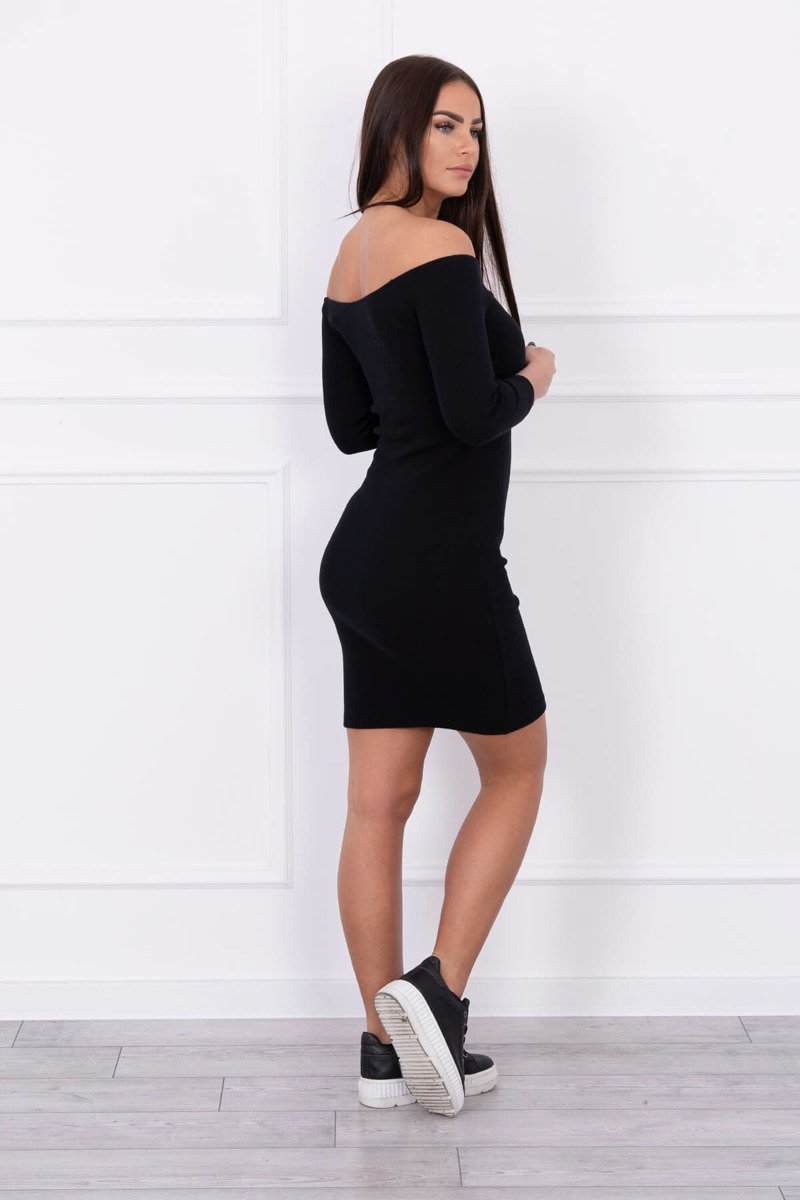 eng pl Dress fitted ribbed black 14735 3