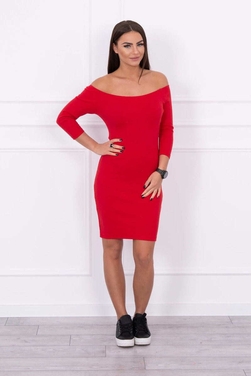 eng pl Dress fitted ribbed red 14725 1