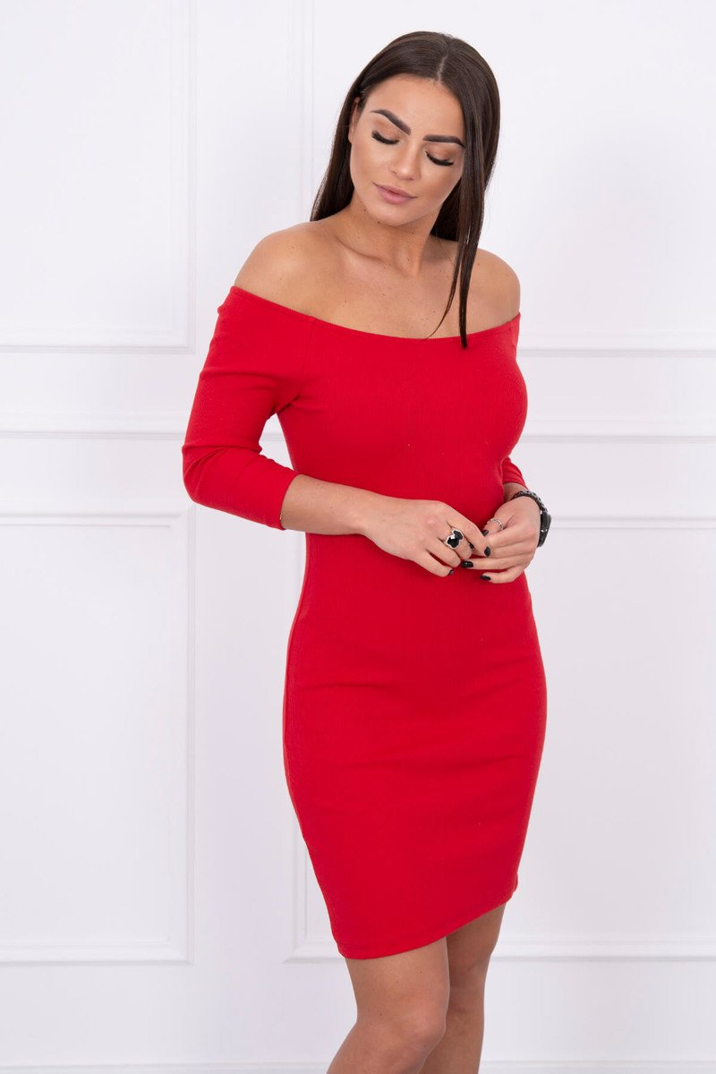 eng pl Dress fitted ribbed red 14725 3