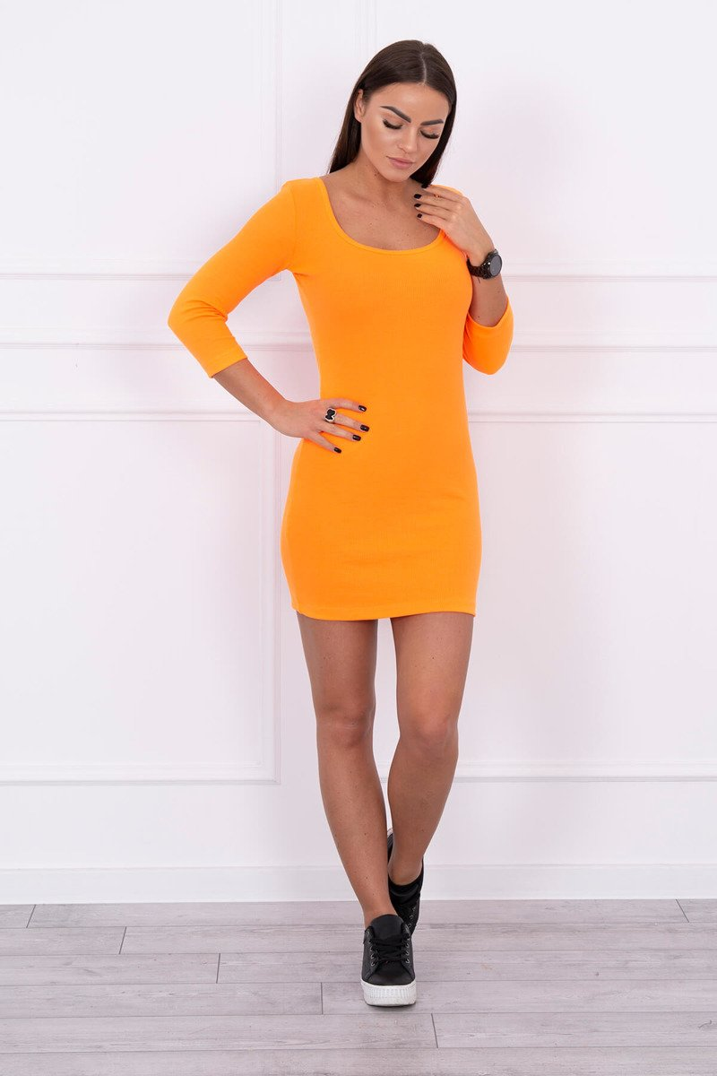 eng pl Dress fitted with a round neckline 3 4 sleeve orange neon 14643 1 1