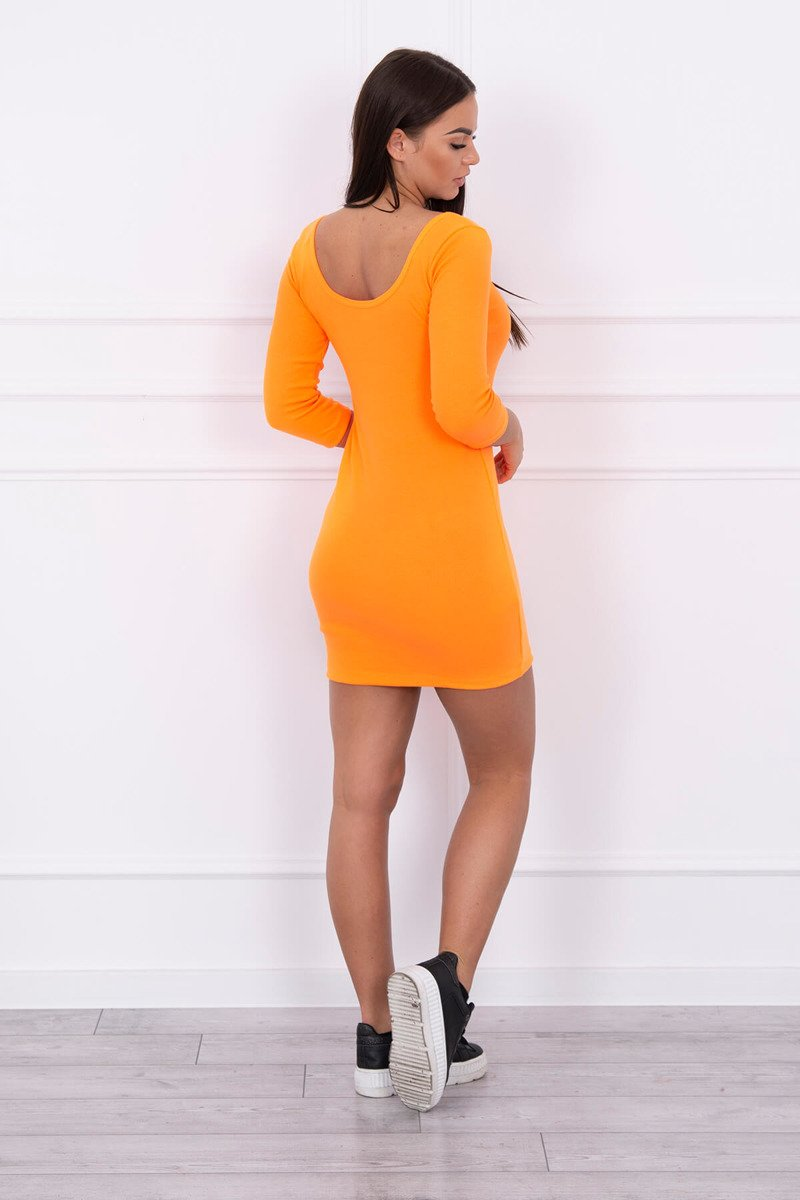 eng pl Dress fitted with a round neckline 3 4 sleeve orange neon 14643 2 1