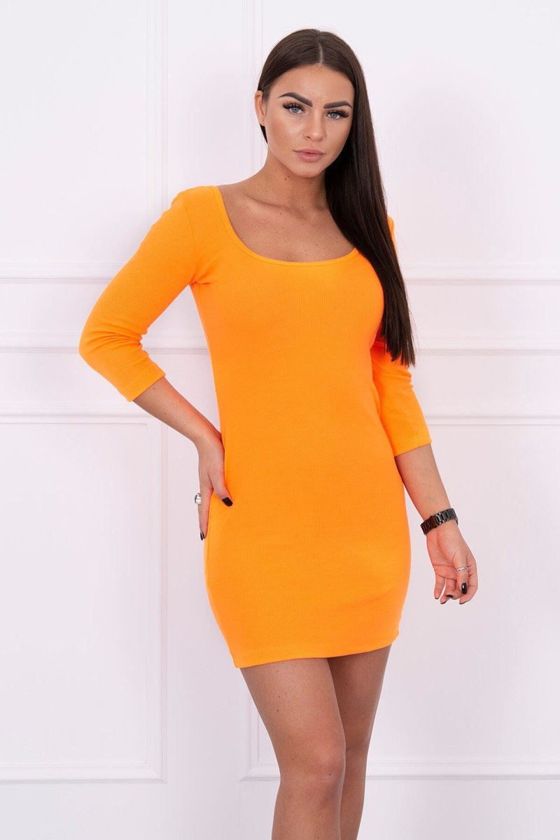 eng pl Dress fitted with a round neckline 3 4 sleeve orange neon 14643 3 1