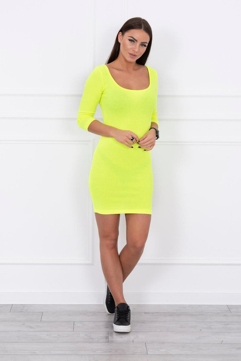 eng pl Dress fitted with a round neckline 3 4 sleeve yellow neon 14645 1