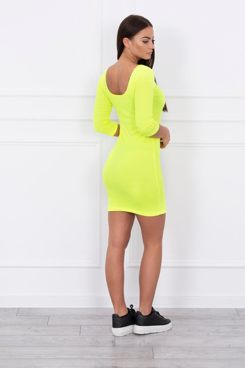 eng pl Dress fitted with a round neckline 3 4 sleeve yellow neon 14645 2