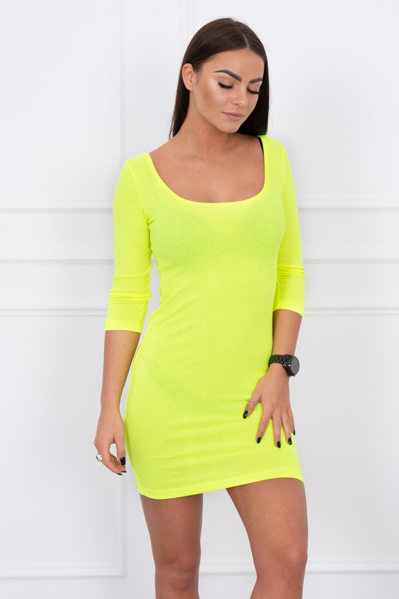 eng pl Dress fitted with a round neckline 3 4 sleeve yellow neon 14645 3