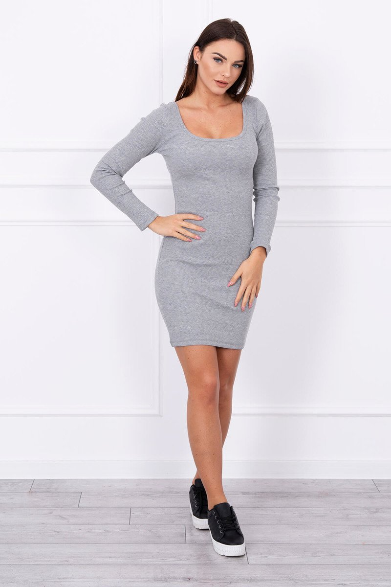 eng pl Dress fitted with a round neckline gray 13863 1