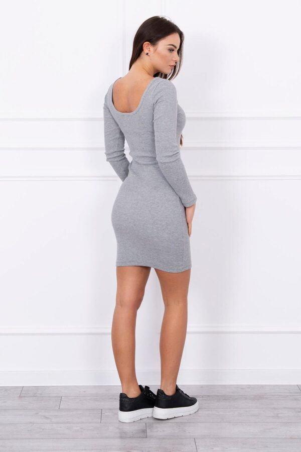 eng pl Dress fitted with a round neckline gray 13863 2