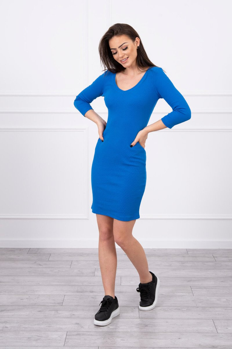 eng pl Dress fitted with neckline mauve blue 17368 1