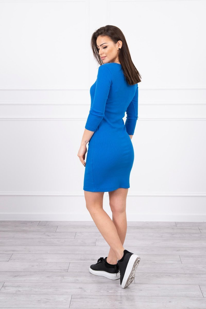 eng pl Dress fitted with neckline mauve blue 17368 2