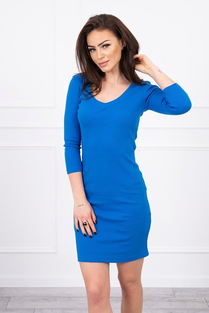 eng pl Dress fitted with neckline mauve blue 17368 4