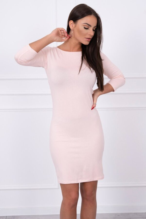 eng pl Dress ruffled at the back powdered pink 14312 4