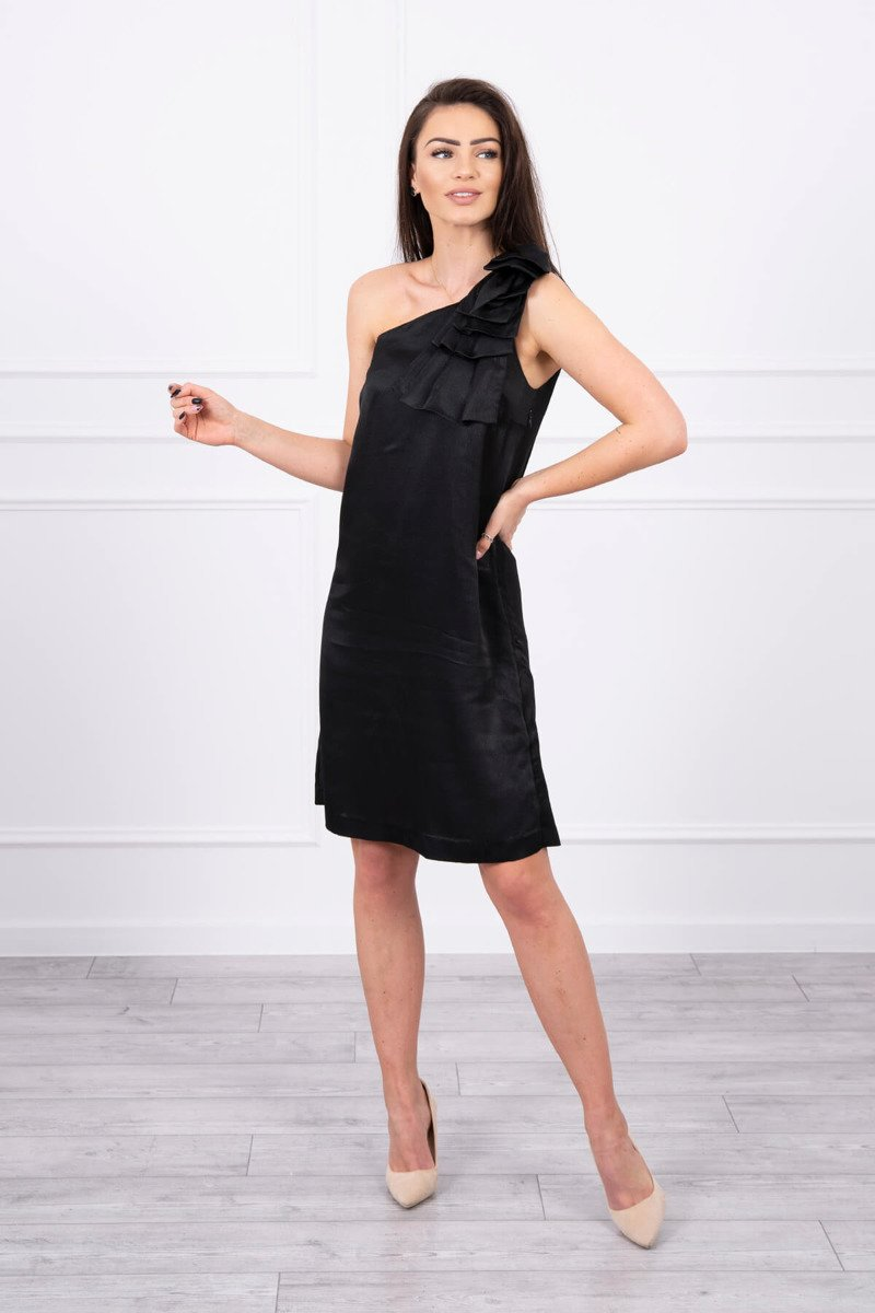 eng pl Dress with a bow on the shoulder black 17344 1