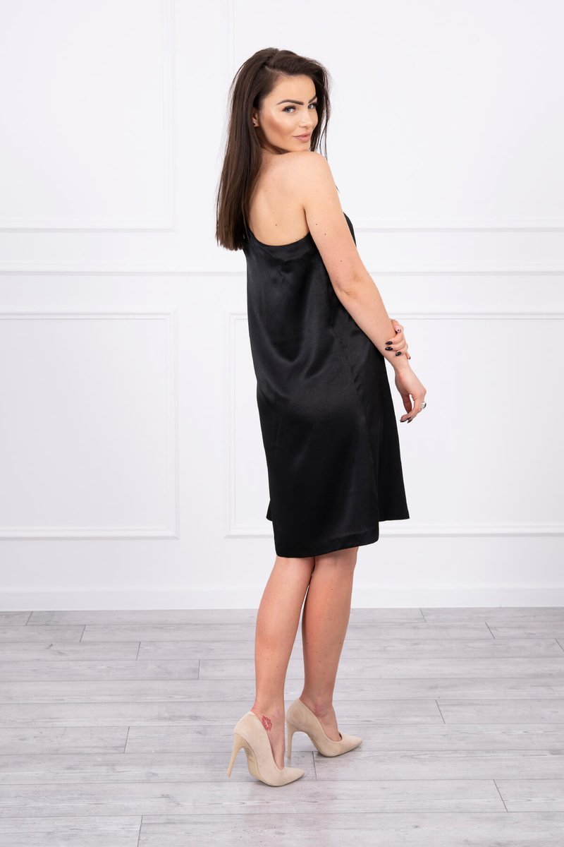 eng pl Dress with a bow on the shoulder black 17344 2