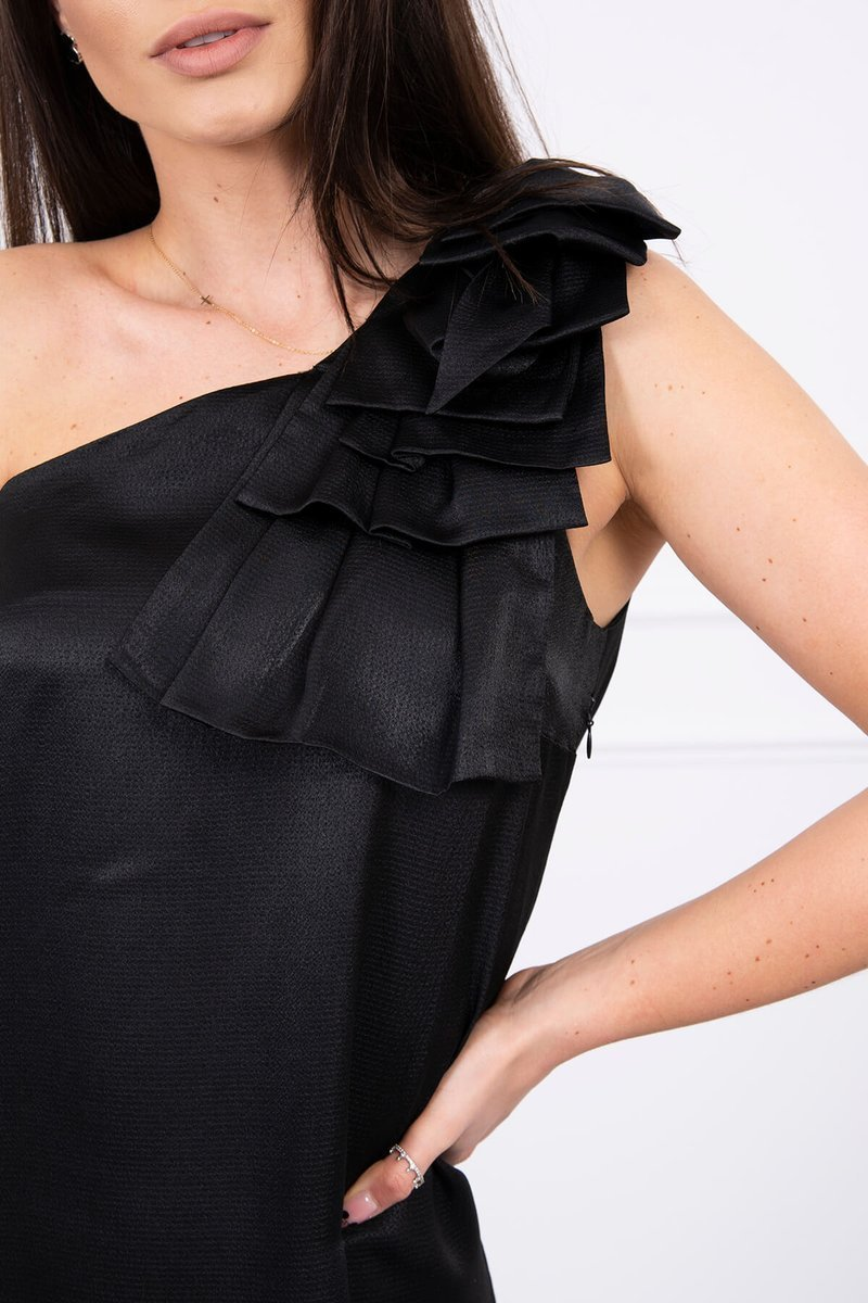 eng pl Dress with a bow on the shoulder black 17344 3
