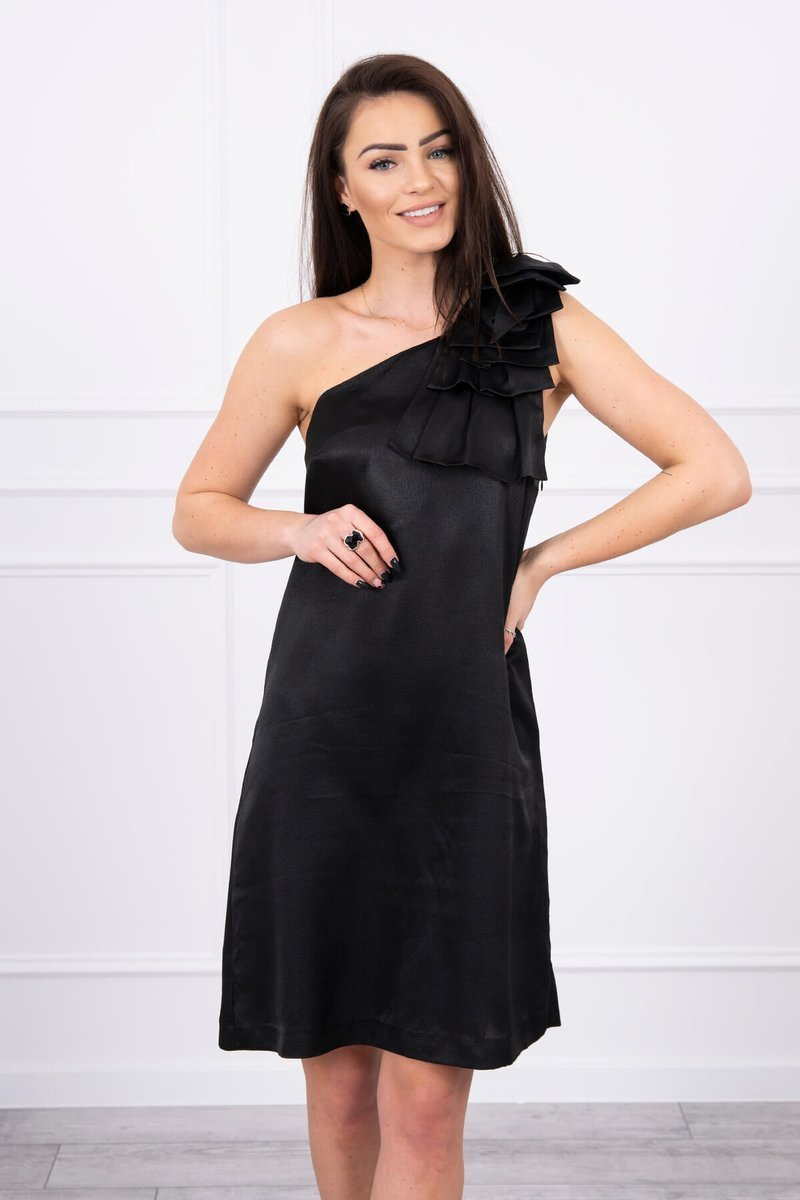 eng pl Dress with a bow on the shoulder black 17344 4