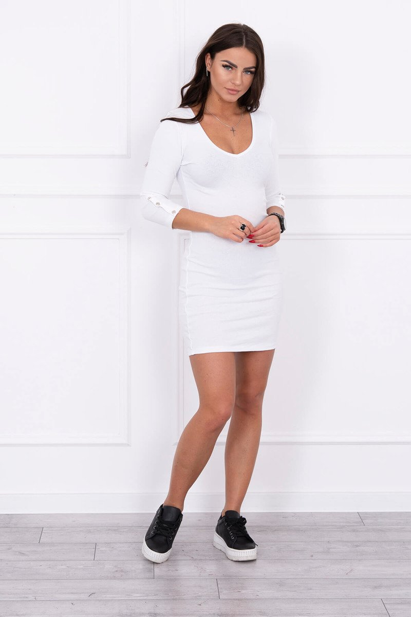 eng pl Dress with buttons on the sleeves white 14594 1
