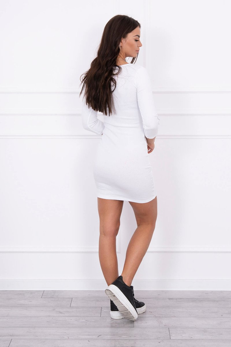 eng pl Dress with buttons on the sleeves white 14594 2