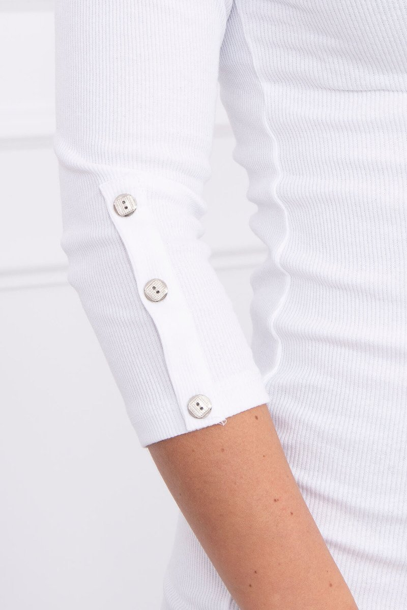 eng pl Dress with buttons on the sleeves white 14594 4