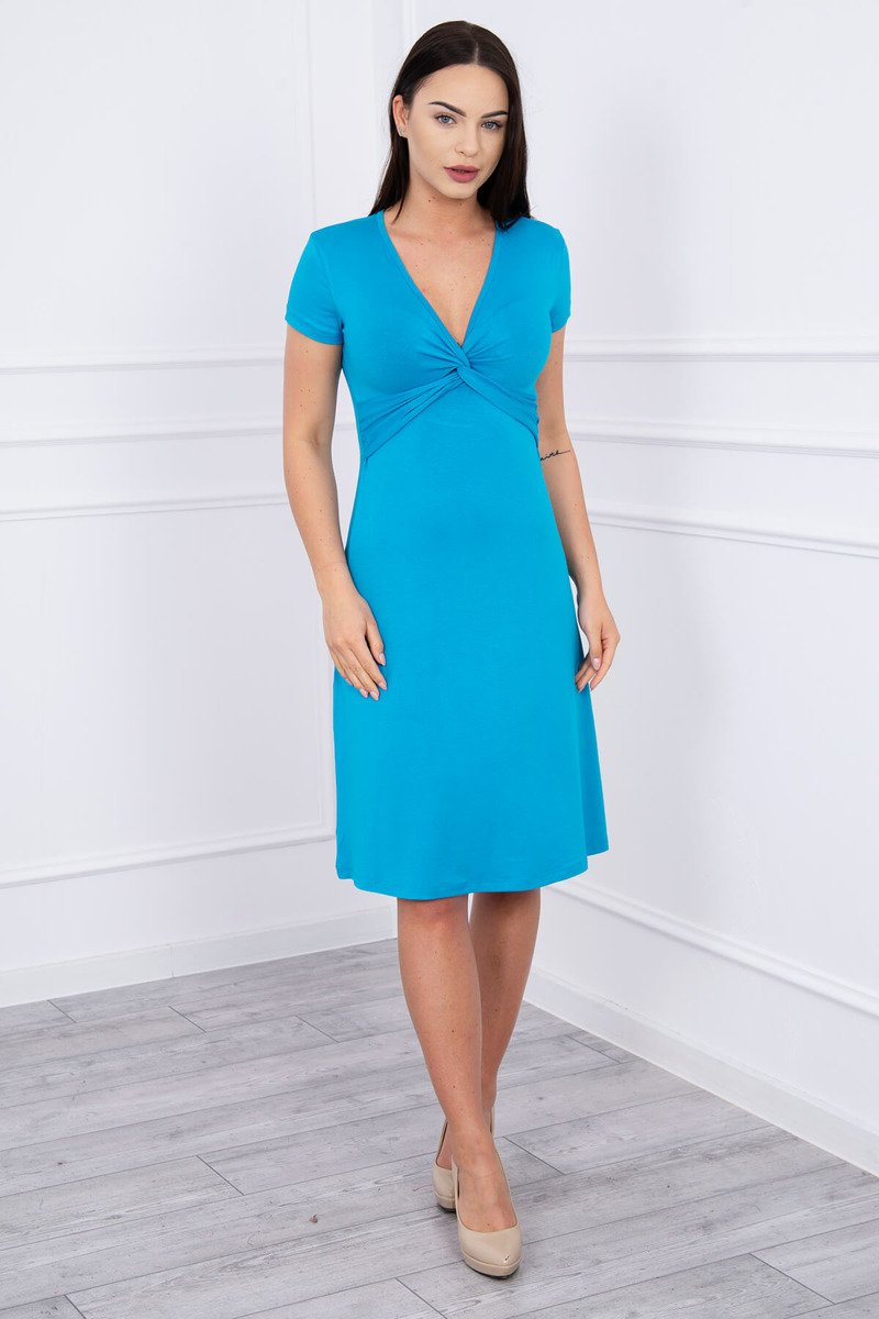 eng pl Dress with decorative binding at the front turquoise 12455 1