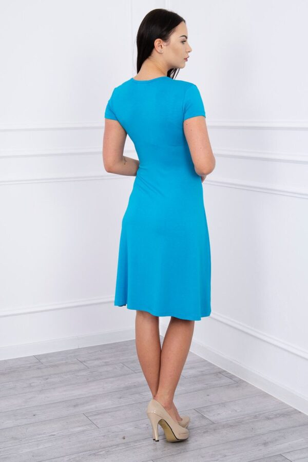 eng pl Dress with decorative binding at the front turquoise 12455 2