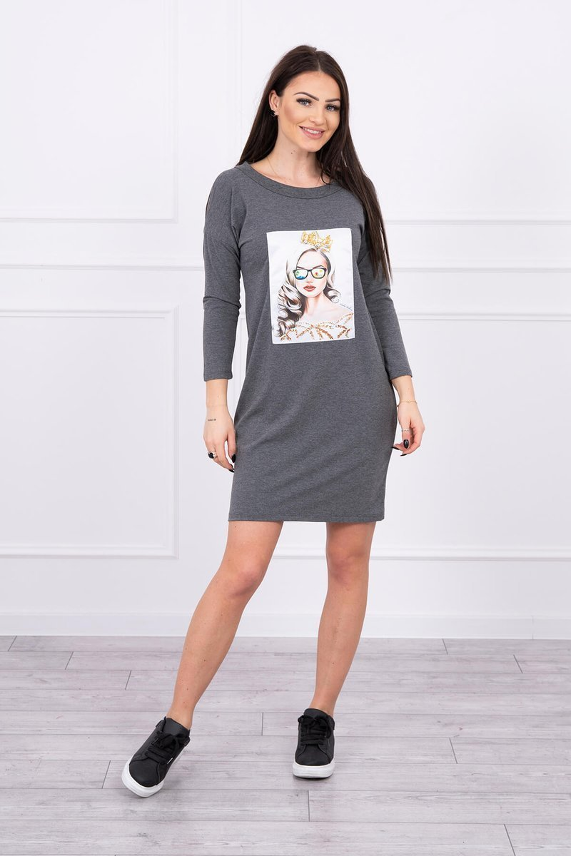 eng pl Dress with graphics of the girl in glasses 3D graphite 17091 3