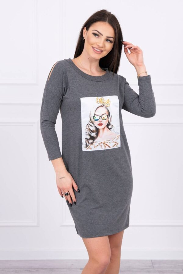 eng pl Dress with graphics of the girl in glasses 3D graphite 17091 4
