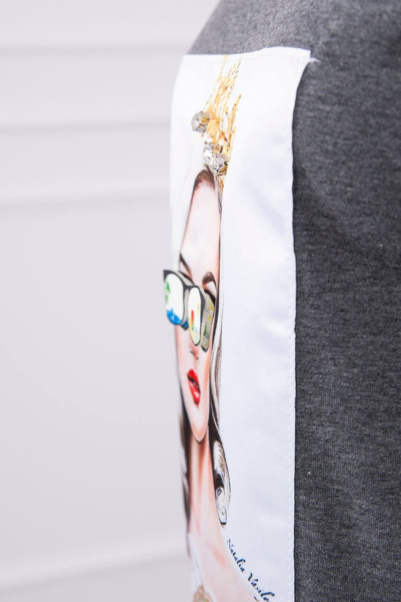 eng pl Dress with graphics of the girl in glasses 3D graphite 17091 6