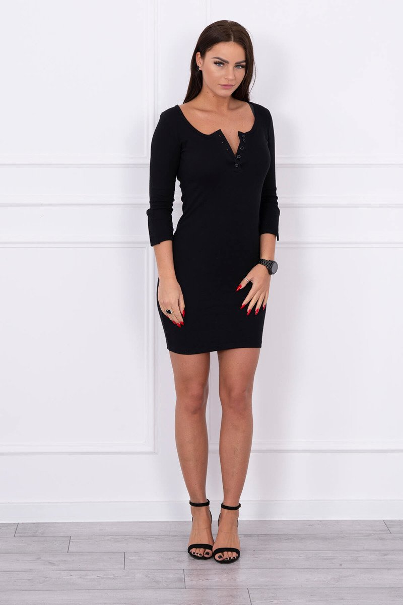 eng pl Dress with neckline with buttons black 14793 1