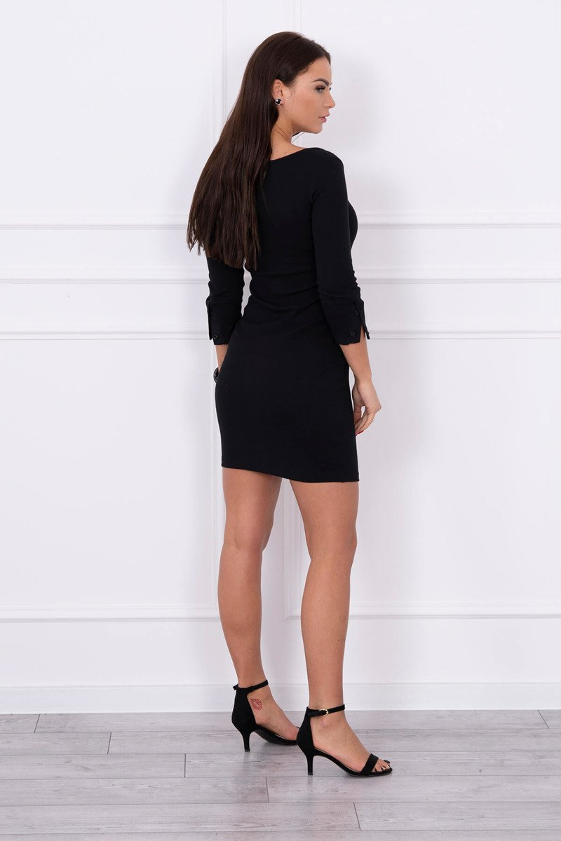 eng pl Dress with neckline with buttons black 14793 2