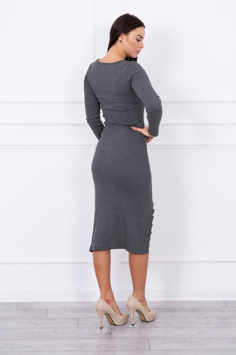 eng pl Long dress with notch at the front graphite 13888 2
