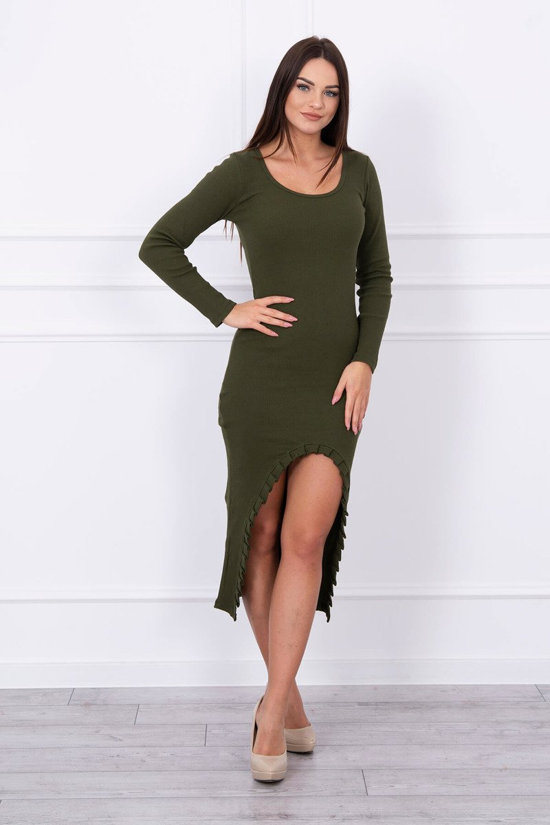 eng pl Long dress with notch at the front khaki 13885 1