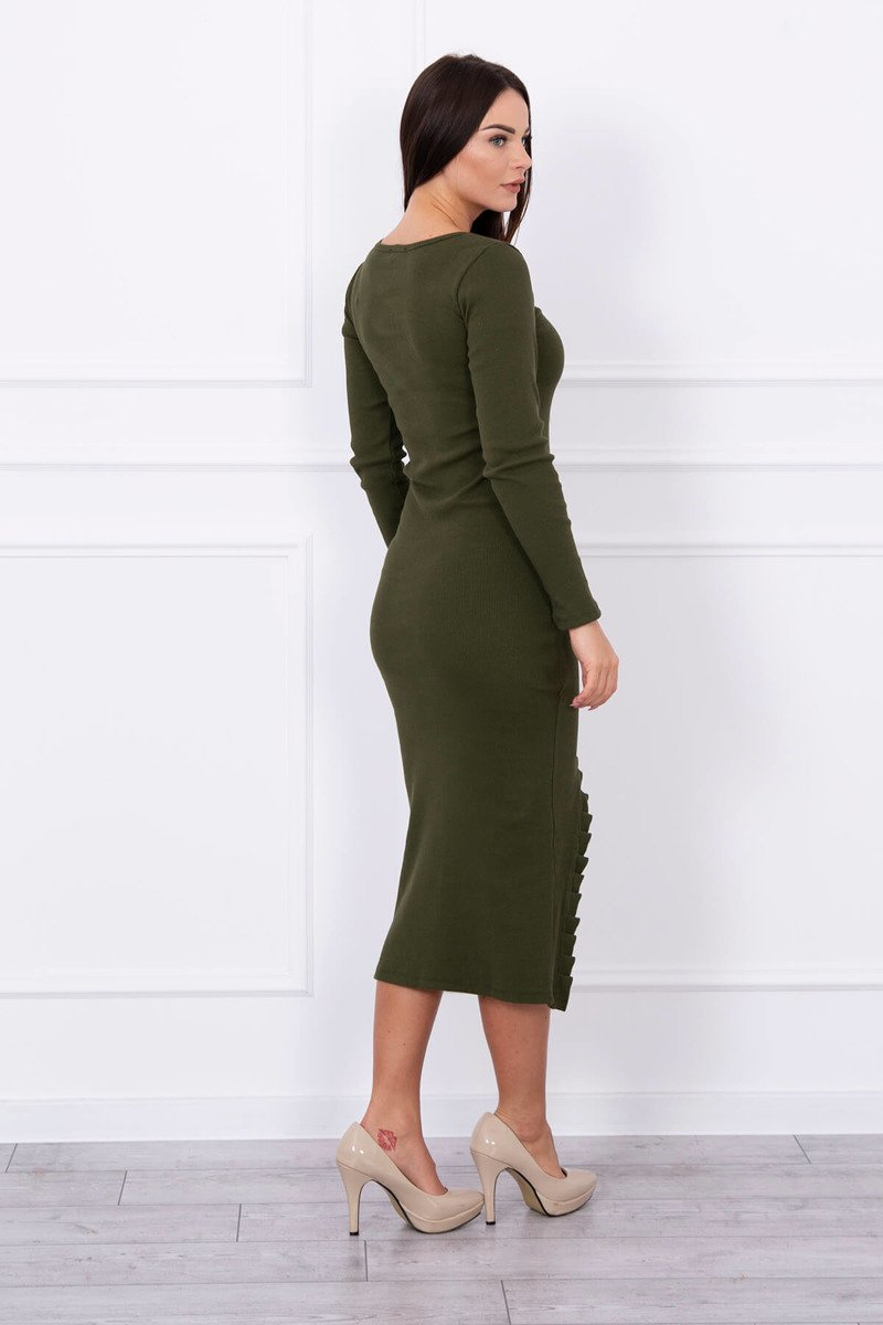 eng pl Long dress with notch at the front khaki 13885 2